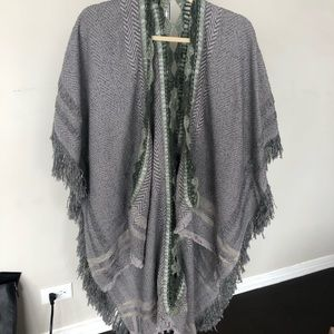 Anthropologie Embroidered Sweater Poncho